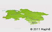 Physical Panoramic Map of Niedersachsen, cropped outside