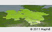 Physical Panoramic Map of Niedersachsen, darken