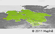 Physical Panoramic Map of Niedersachsen, desaturated