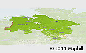 Physical Panoramic Map of Niedersachsen, lighten
