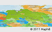 Physical Panoramic Map of Niedersachsen, political outside