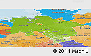 Physical Panoramic Map of Niedersachsen, political shades outside