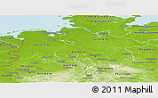 Physical Panoramic Map of Niedersachsen