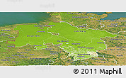 Physical Panoramic Map of Niedersachsen, satellite outside