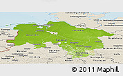 Physical Panoramic Map of Niedersachsen, shaded relief outside