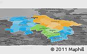 Political Panoramic Map of Niedersachsen, darken, desaturated