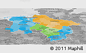 Political Panoramic Map of Niedersachsen, desaturated