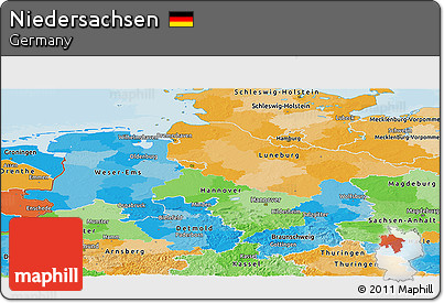 Political Panoramic Map of Niedersachsen