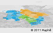 Political Panoramic Map of Niedersachsen, lighten, desaturated