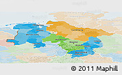 Political Panoramic Map of Niedersachsen, lighten