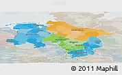 Political Panoramic Map of Niedersachsen, lighten, semi-desaturated