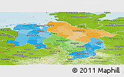 Political Panoramic Map of Niedersachsen, physical outside