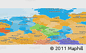 Political Panoramic Map of Niedersachsen, political shades outside
