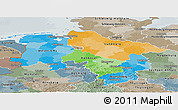 Political Panoramic Map of Niedersachsen, semi-desaturated