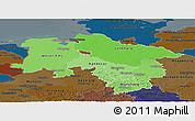 Political Shades Panoramic Map of Niedersachsen, darken