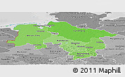 Political Shades Panoramic Map of Niedersachsen, desaturated