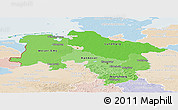 Political Shades Panoramic Map of Niedersachsen, lighten