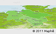 Political Shades Panoramic Map of Niedersachsen, physical outside