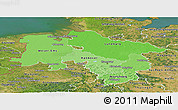 Political Shades Panoramic Map of Niedersachsen, satellite outside