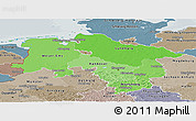 Political Shades Panoramic Map of Niedersachsen, semi-desaturated