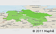 Political Shades Panoramic Map of Niedersachsen, shaded relief outside