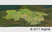 Satellite Panoramic Map of Niedersachsen, darken