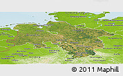 Satellite Panoramic Map of Niedersachsen, physical outside