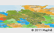Satellite Panoramic Map of Niedersachsen, political outside