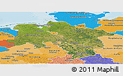 Satellite Panoramic Map of Niedersachsen, political shades outside