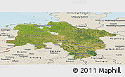 Satellite Panoramic Map of Niedersachsen, shaded relief outside