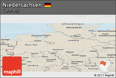 Shaded Relief Panoramic Map of Niedersachsen