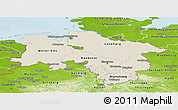 Shaded Relief Panoramic Map of Niedersachsen, physical outside
