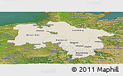 Shaded Relief Panoramic Map of Niedersachsen, satellite outside