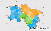 Political Simple Map of Niedersachsen, cropped outside