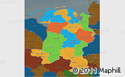 Political 3D Map of Weser-Ems, darken
