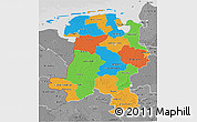 Political 3D Map of Weser-Ems, desaturated