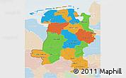 Political 3D Map of Weser-Ems, lighten