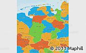 Political 3D Map of Weser-Ems