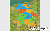 Political 3D Map of Weser-Ems, satellite outside