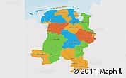 Political 3D Map of Weser-Ems, single color outside