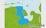 Political Map of Friesland, physical outside
