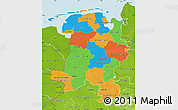 Political Map of Weser-Ems, physical outside
