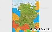 Satellite Map of Weser-Ems, political outside