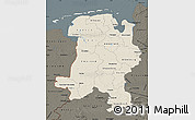 Shaded Relief Map of Weser-Ems, darken