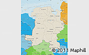Shaded Relief Map of Weser-Ems, political shades outside