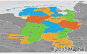 Political Panoramic Map of Weser-Ems, desaturated