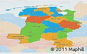 Political Panoramic Map of Weser-Ems, lighten