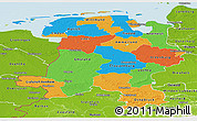 Political Panoramic Map of Weser-Ems, physical outside