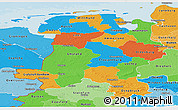 Political Panoramic Map of Weser-Ems, political shades outside