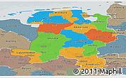 Political Panoramic Map of Weser-Ems, semi-desaturated